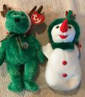 Ty Beanie Babies Snowgirl 2000, w/ Tag, 2002 Holiday Teddy with Antlers  w/ Tag
