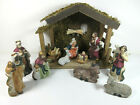 11 Piece Porcelain  Wood Christmas Nativity Set Creche Manger Table Top Box