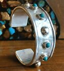 UNOde50 FREEMOTION SILVER TURQUOISE MURANO GLASS CUFF BRACELET SZ M NWT 239