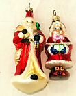 Lot Blown Glass Christmas Ornament Radko Santa & Mrs Claus & Santa Claus Germany