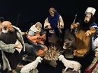 Anri Lepi Wood Carved 8 Scale Articulated Nativity Set 13 Pc RARE