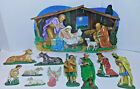 Vtg LARGE Die Cut Thin Cardboard Christmas Nativity Scene For Wall or Classroom