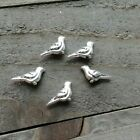 5 Tiny Bird Beads Charms Metal Antiqued Silver 3D 2 Sided Aviary Findings 14mm