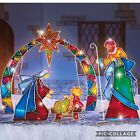 Outdoor Christmas Lighted Stake 4Pcs Yard Mosaic Nativity Scene Holiday Decor