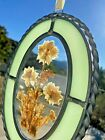 Vintage Stained Lead Oval Glass Hanging Window Panel SUN CATCHER Pressed Flowers