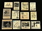 LOT OF 12 INKADINKADO WOOD MOUNTED RUBBER STAMPS TRAVEL THEME BRAND NEW