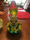 Joe St Clair paperweight perfume bottle multicolored flowers bubbles Both