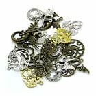 16 Large Dragon Pendants Bronze Silver Gold Medieval Charms Assorted Lot 35mm+
