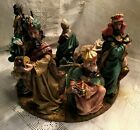 1990s NATIVITY CENTERPIECE ADVENT WREATH Sculpted Resin Gold Jewels Embellished