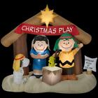 NIB 6ft TALL Christmas Play Peanuts Snoopy Woodstock Nativity Scene Inflatable