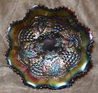 Antique NORTHWOOD GRAPE  CABLE ruffled bowl amethyst glass