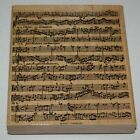 Stampin Up Retired Wood Mounted MUSICAL SCORE Background Single Stamp RARE HTF