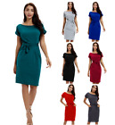 Women's Casual Wrap Ties Ladies Short Sleeve Holiday Party Midi Dress Size S-2XL