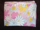 Vintage MOD Pink Floral Flower Power Bed Sheet Twin Flat Cannon Monticello