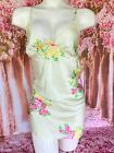 Betsy Johnson Yellow Floral Satin Babydoll Nightgown Lingerie Large Bust 38