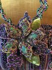 Mary Frances Beaded Floral Flower Fantasy Handbag Purple Green Perfect Condition
