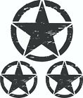 3 Piece Hood And Door Distressed Army Star Decal Set Jeep Military Graphics