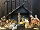 13 Pc Wood Carved Hand Painted Nativity Set Italy Anri style w Stable