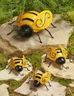 Decorative Metal Bumble Bee Garden Accents Lawn Ornaments Set of 4