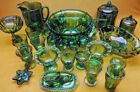 Vintage Indiana Carnival Glass GRAPE LEAVES HUGE COLLECTION BEAUTIFUL COLORS