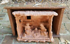 IMPRESSIVE VINTAGE TERRACOTTA DIORAMA NATIVITY SCENE SCULPTURE +OUTER WOODEN BOX