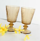 AMBER SET OF 2 FOOTED GOBLETS embossed pattern, farmhouse boho decor glasses