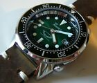watch Squale Professional 500mt - green dial soleil- polished case, leather