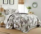 Tropical Palm Tree Foliage Vintage Washed 100 Cotton Reversible Quilt Set