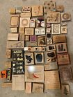 70 wood mounted rubber stamps lot large variety different brands less than 1ea
