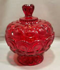 STAR Ruby Red Footed Candy Dish L.E.Smith Glass w/Lid Amberina