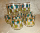 Vtg Libbey Nordic Pattern Turquoise Squares Drinking Glasses Tumblers Set of 7