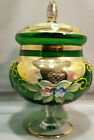 Vintage Emerald Green Bohemian Art Glass Candy Dish Hand Painted Flowers w Gold