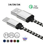 3 6 10FT Aluminum Braided Micro USB C IOS Data Sync Charger Cable For Android
