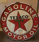 """VINTAGE TEXACO DOUBLE SIDED SIGN WITH ORIGINAL HANGER RIM 42"""""""