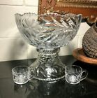 Pairpoint ABP Cut Glass VISCARIA 12 2 Piece Footed Punch Bowl w 2 Cups RARE