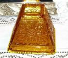 Vintage RARE Glass Fairy Lamp Candle/Light Amber Square Pyramid Flower Swirls
