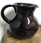 Hand blown Large Purple Sangria Pitcher Made In Mexico Applied Blue Handle
