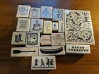 LOT 4 of assorted theme birthday Christmas Halloween farm rubber stamps
