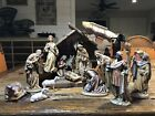 15 Piece 7 Scale Wood Carved Hand Painted Italy Nativity Set Anri Style