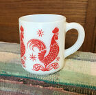Vintage Fire King Anchor Hocking Red Rooster Coffee Stacking Cup Mug
