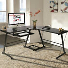 L Shape Computer Desk Glass Coner Study Writing Table PC Laptop Workstation Home