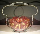 ANTIQUE VICTORIAN BRIDES BASKET WITH 3 COLOR GLASS BOWL AND A WM RODGERS FRAME