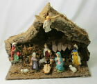 11 Old Italy Nativity Figurines Chalk+Lg Wood Moss Stable Music Bx Silent Night