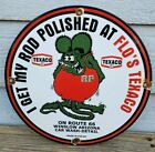 VINTAGE FLO'S TEXACO RAT FINK PORCELAIN PUMP SIGN ROUTE 66 WINSLOW ARIZONA RARE