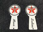 VINTAGE TEXACO GASOLINE PORCELAIN RESTROOM SIGNS GAS OIL STATION PUMP PLATE RARE