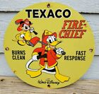 VINTAGE 1967 TEXACO FIRE-CHIEF GASOLINE PORCELAIN ENAMEL FUEL PUMP SIGN MICKEY