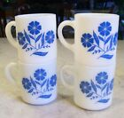 Lot 4 Milk Glass Blue CORNFLOWER Coffee MUGS Cups Hazel Atlas Vintage