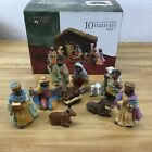Holiday Time Porcelain Nativity Set Hand Painted 10 Pieces With Box Vintage Rare