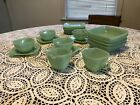 Fire King Jadeite Charm Pattern Green Square Luncheon Set