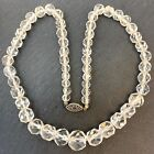 VINTAGE CLEAR FACETED GLASS BEAD NECKLACE BEADED JEWELRY STERLING SILVER CLASP